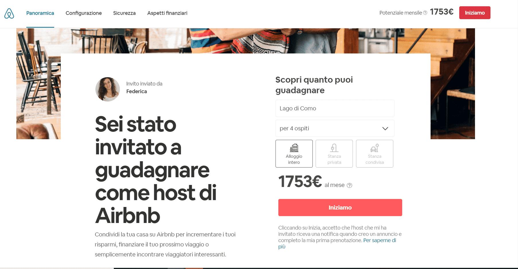 Pagina d'invito per pubblicare un annuncio su Airbnb e diventare un Host