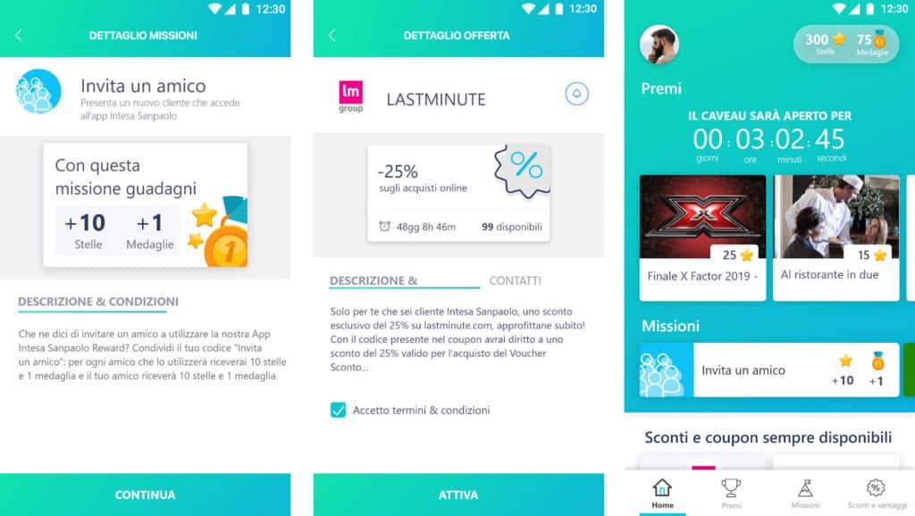 Screenshot dell'app Intesa San Paolo Reward